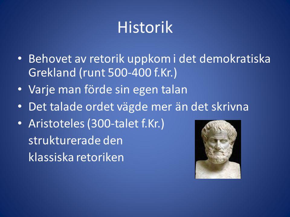 Historik Behovet av retorik uppkom i det demokratiska Grekland (runt 500-400 f.Kr.) Varje man förde sin egen talan.