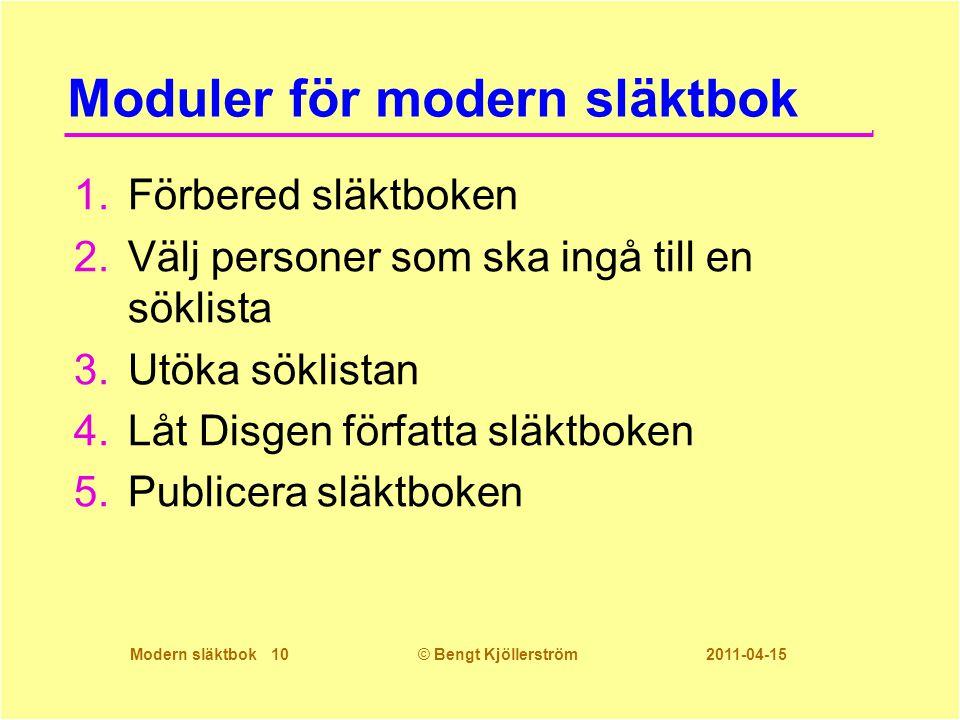 Moduler för modern släktbok
