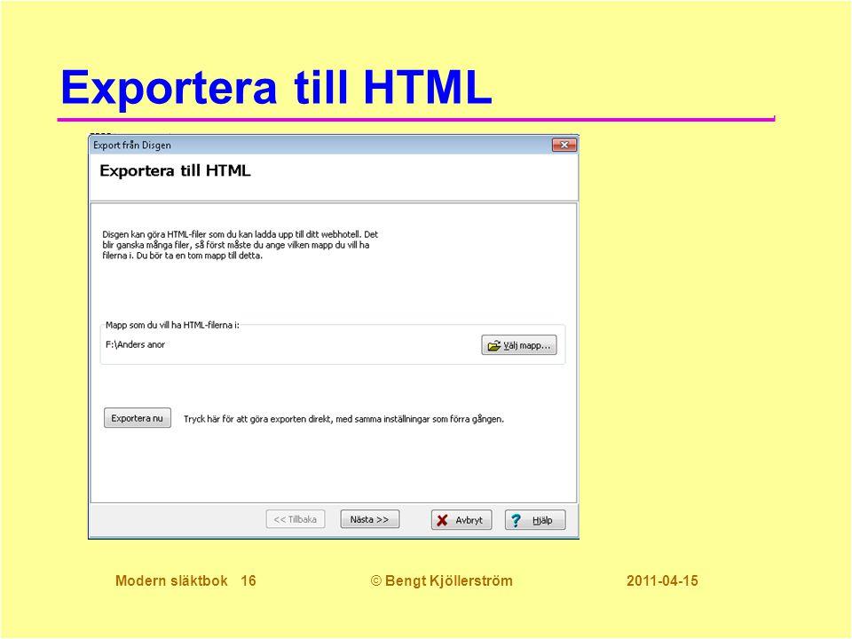 Exportera till HTML