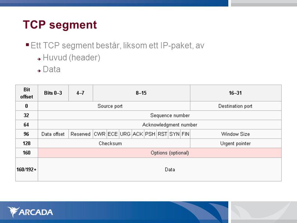 TCP segment Ett TCP segment består, liksom ett IP-paket, av