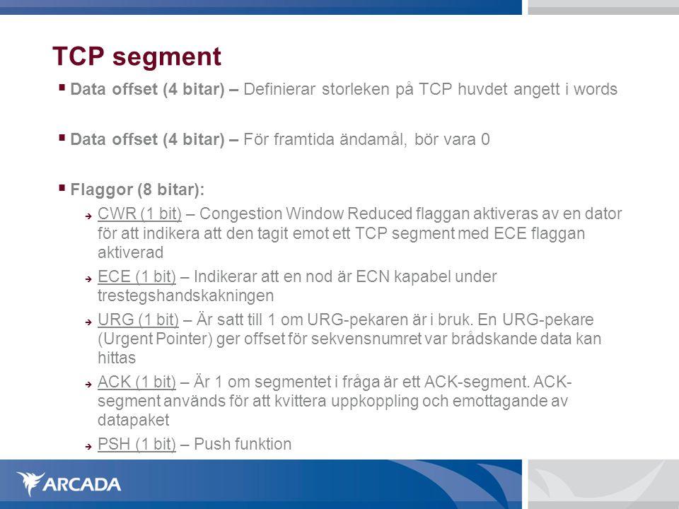TCP segment Data offset (4 bitar) – Definierar storleken på TCP huvdet angett i words. Data offset (4 bitar) – För framtida ändamål, bör vara 0.
