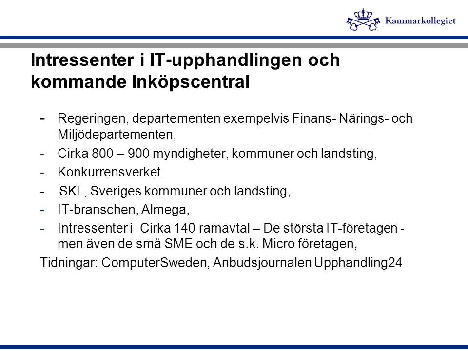 Intressenter i IT-upphandlingen och kommande Inköpscentral