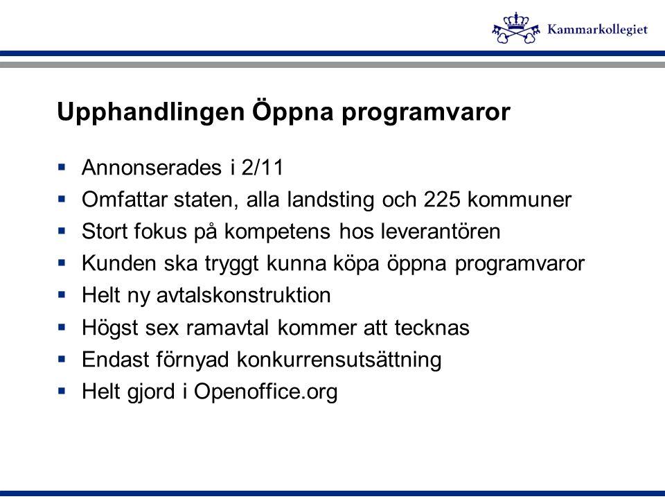 Upphandlingen Öppna programvaror