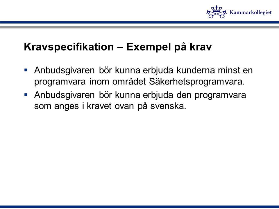 Kravspecifikation – Exempel på krav