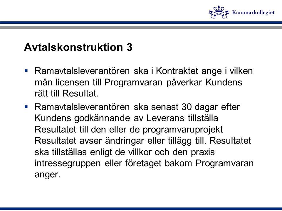 Avtalskonstruktion 3 Ramavtalsleverantören ska i Kontraktet ange i vilken mån licensen till Programvaran påverkar Kundens rätt till Resultat.