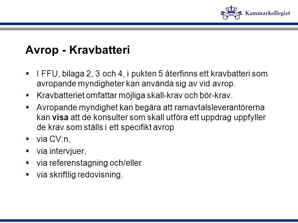 Avrop - Kravbatteri I FFU, bilaga 2, 3 och 4, i pukten 5 återfinns ett kravbatteri som avropande myndigheter kan använda sig av vid avrop.