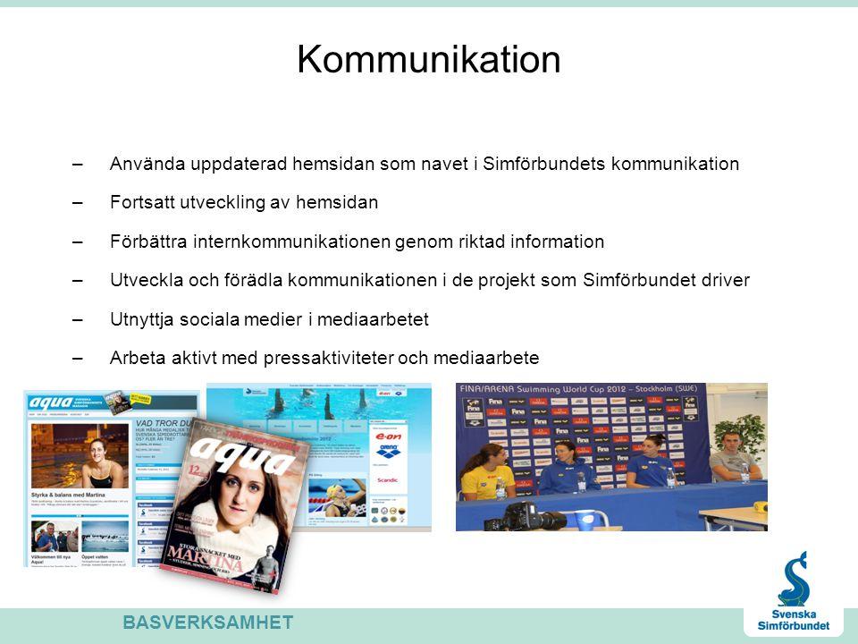 Kommunikation Använda uppdaterad hemsidan som navet i Simförbundets kommunikation. Fortsatt utveckling av hemsidan.