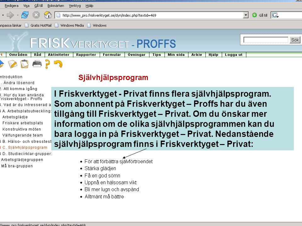 I Friskverktyget - Privat finns flera självhjälpsprogram