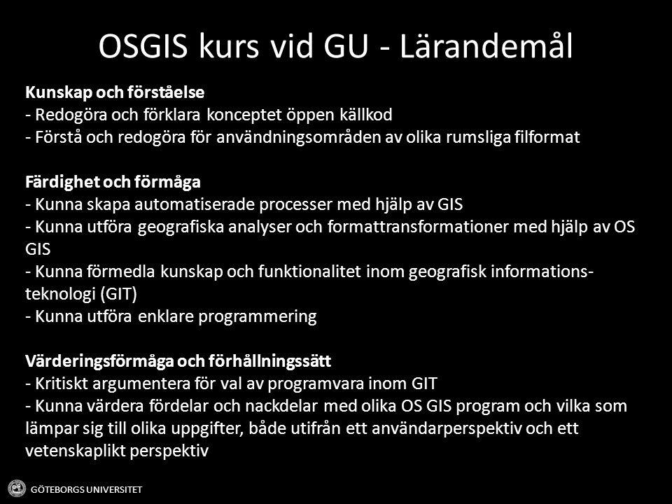 OSGIS kurs vid GU - Lärandemål