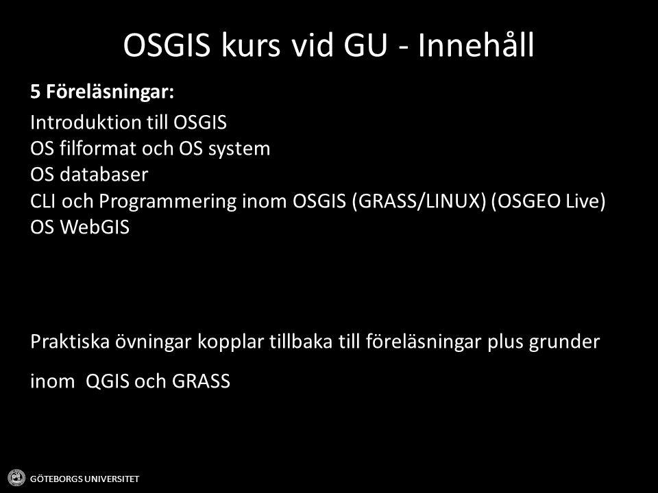 OSGIS kurs vid GU - Innehåll
