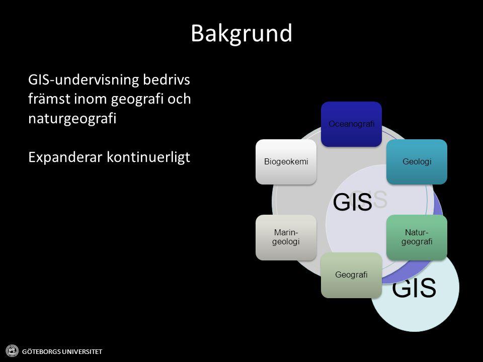 Bakgrund GIS-undervisning bedrivs främst inom geografi och naturgeografi. Expanderar kontinuerligt.