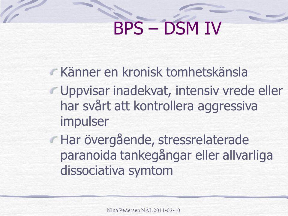 BPS – DSM IV Känner en kronisk tomhetskänsla