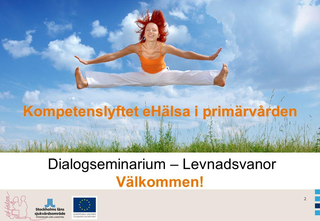Kompetenslyftet eHälsa i primärvården Dialogseminarium – Levnadsvanor Välkommen!