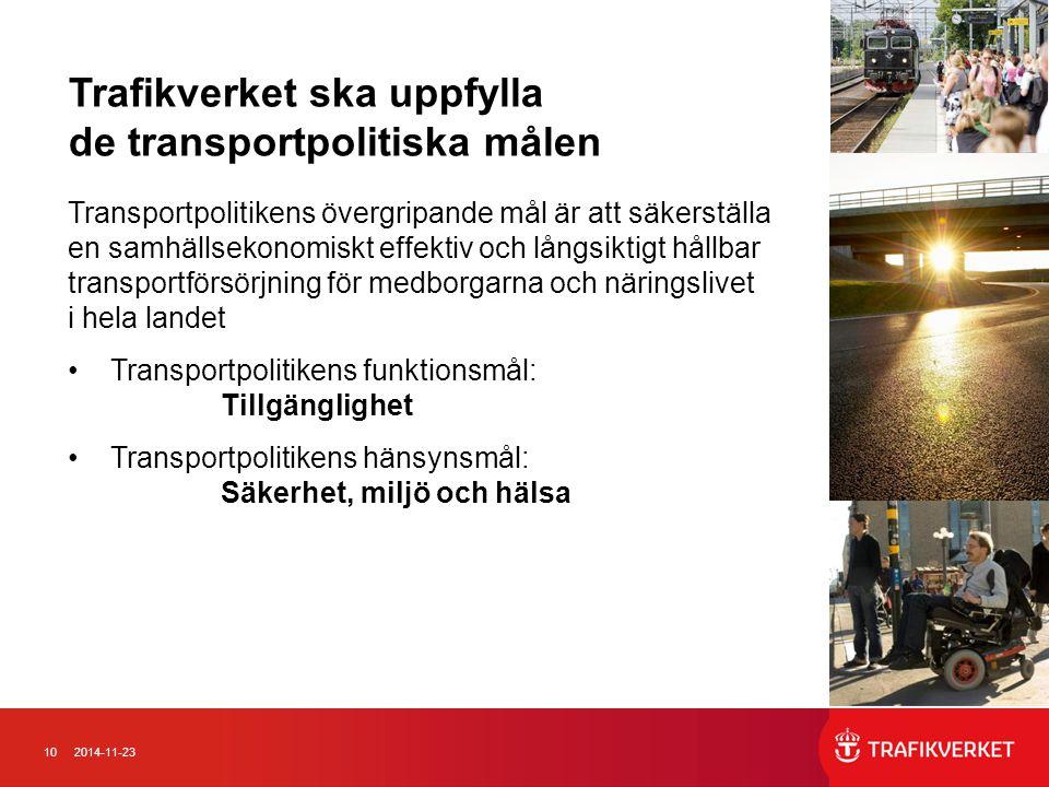 Trafikverket ska uppfylla de transportpolitiska målen