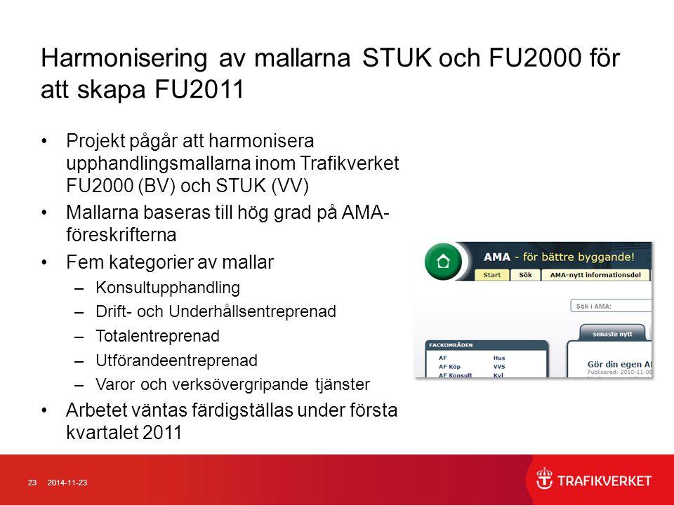 Harmonisering av mallarna STUK och FU2000 för att skapa FU2011