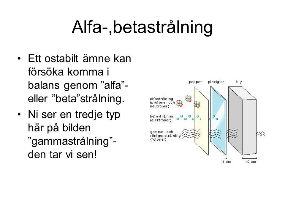 Alfa-,betastrålning Ett ostabilt ämne kan försöka komma i balans genom alfa - eller beta strålning.
