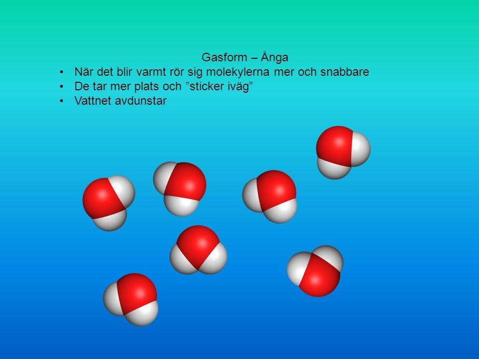 Gasform – Ånga När det blir varmt rör sig molekylerna mer och snabbare. De tar mer plats och sticker iväg