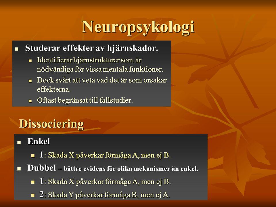 Neuropsykologi Dissociering Studerar effekter av hjärnskador. Enkel