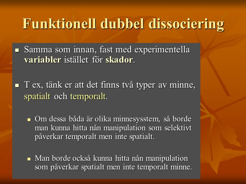 Funktionell dubbel dissociering