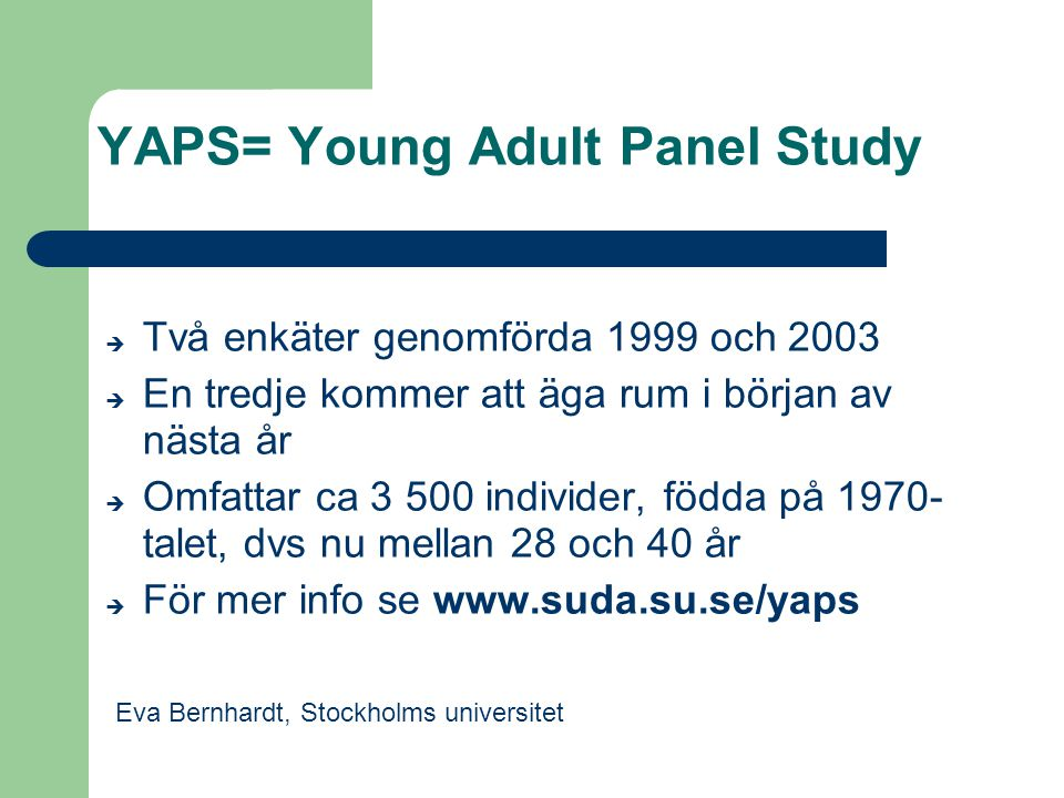 YAPS= Young Adult Panel Study