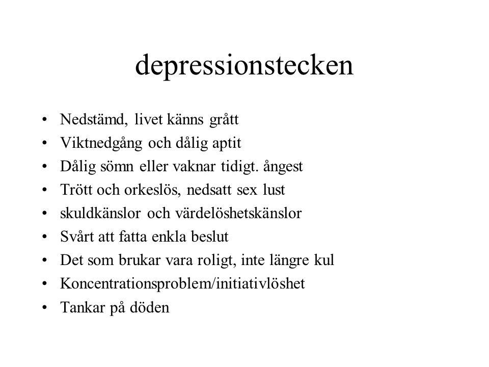 depressionstecken Nedstämd, livet känns grått