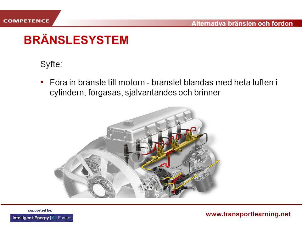BRÄNSLESYSTEM Syfte: Föra in bränsle till motorn - bränslet blandas med heta luften i cylindern, förgasas, självantändes och brinner.