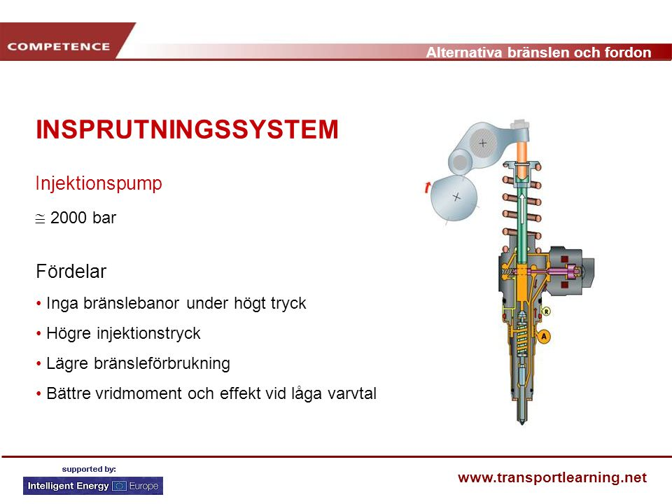INSPRUTNINGSSYSTEM Injektionspump  2000 bar Fördelar