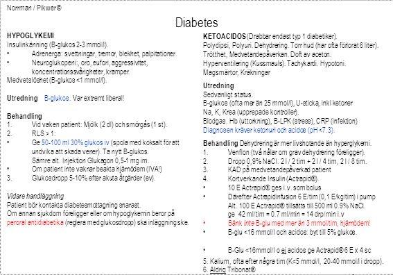 Diabetes Norrman / Pikwer © HYPOGLYKEMI