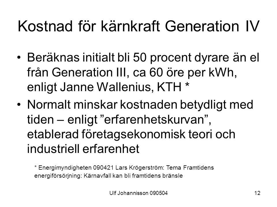 Kostnad för kärnkraft Generation IV