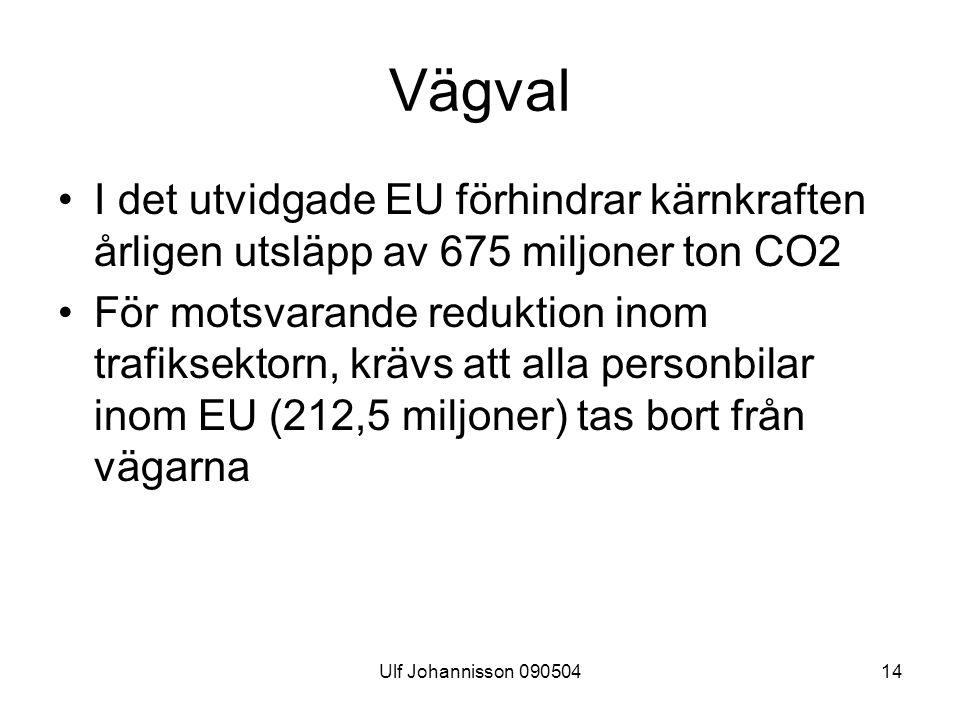 Vägval I det utvidgade EU förhindrar kärnkraften årligen utsläpp av 675 miljoner ton CO2.