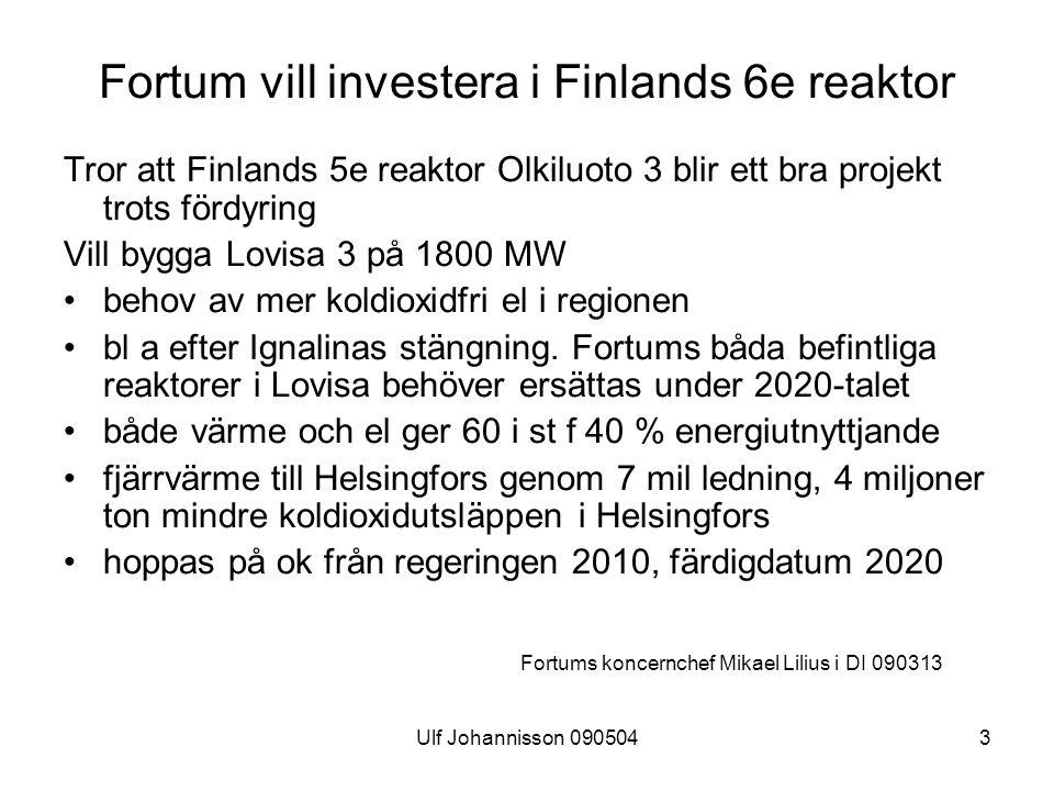 Fortum vill investera i Finlands 6e reaktor
