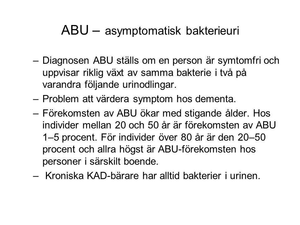 ABU – asymptomatisk bakterieuri