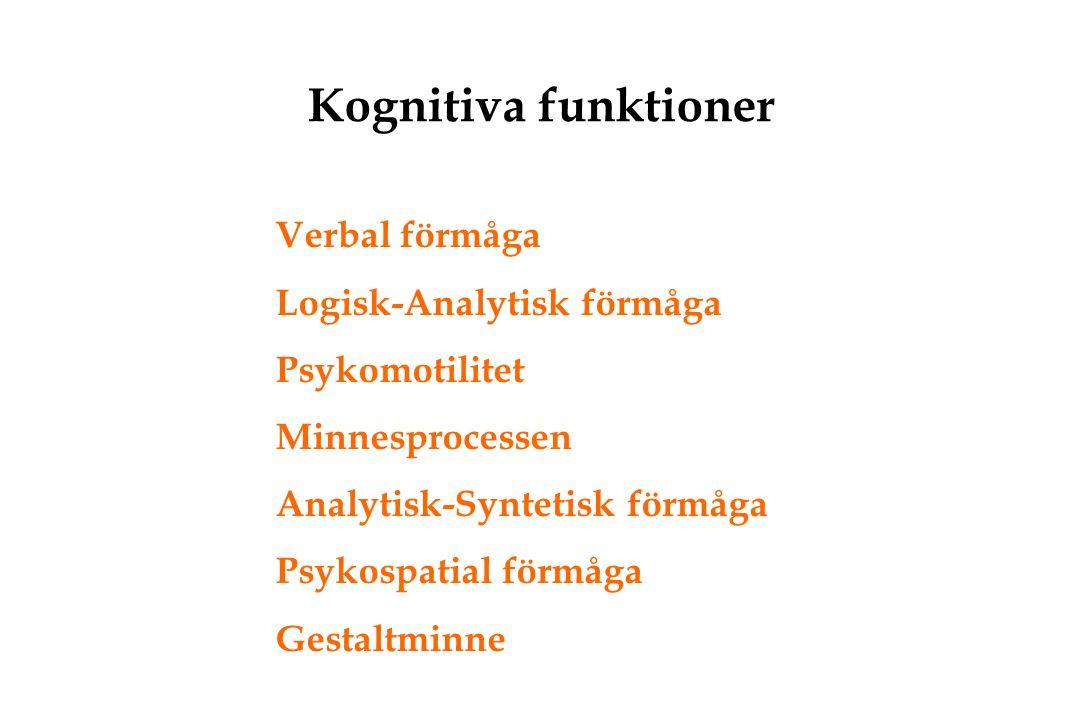 Kognitiva funktioner Verbal förmåga Logisk-Analytisk förmåga