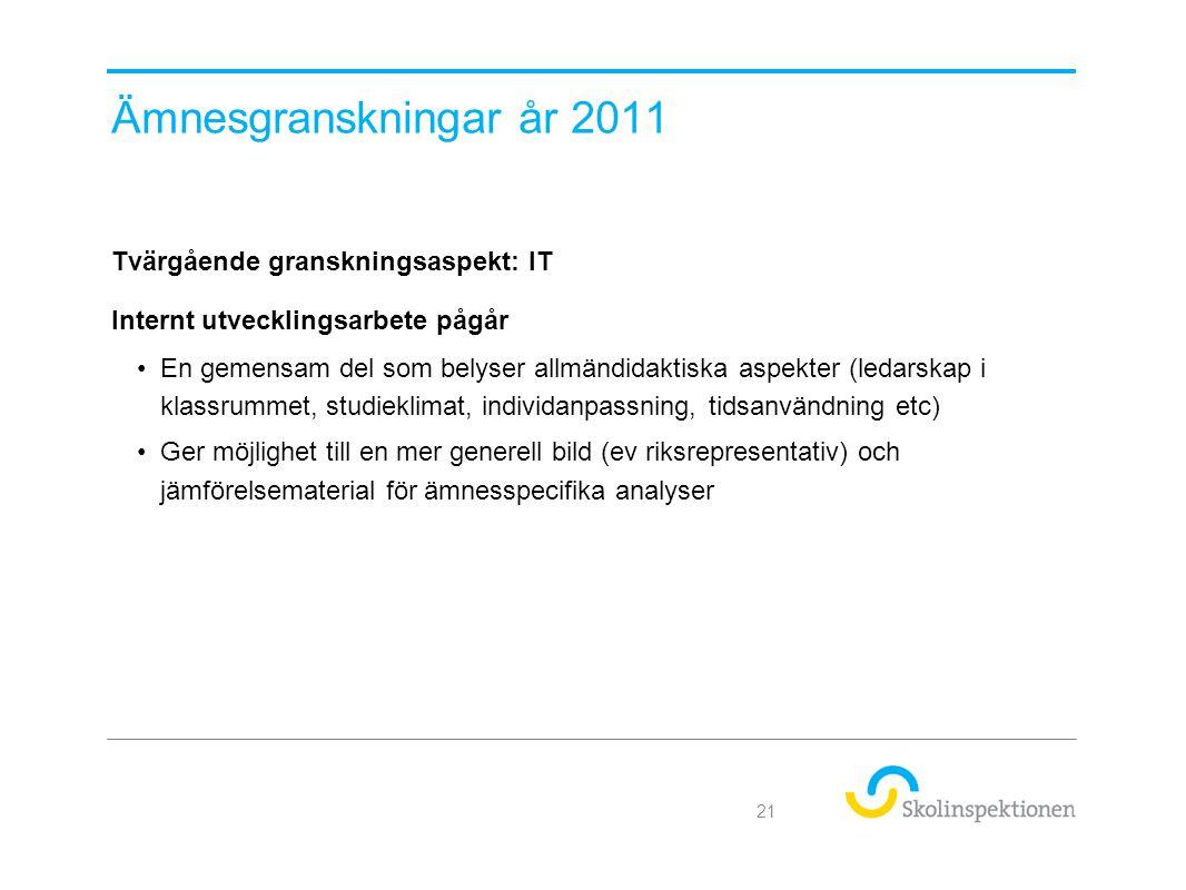 Ämnesgranskningar år 2011 Tvärgående granskningsaspekt: IT