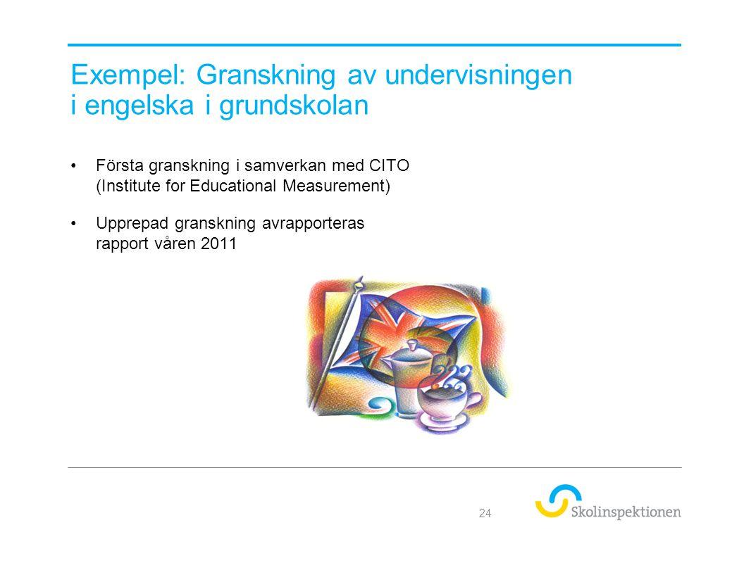 Exempel: Granskning av undervisningen i engelska i grundskolan