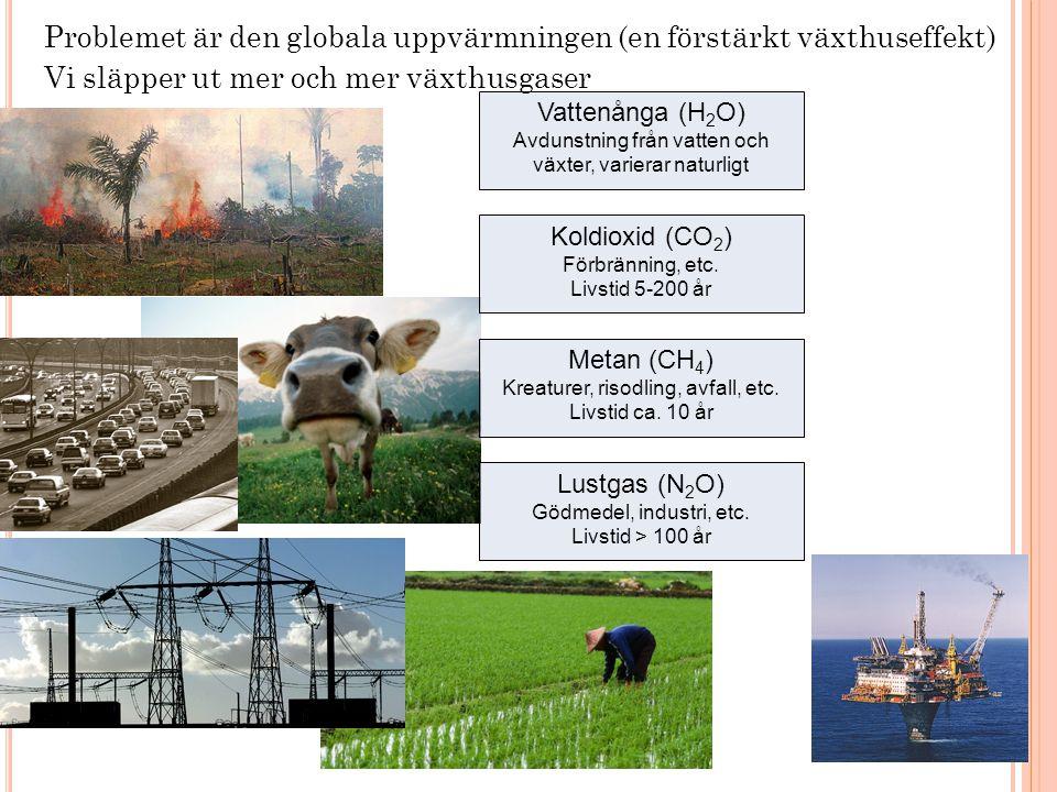 Problemet är den globala uppvärmningen (en förstärkt växthuseffekt)