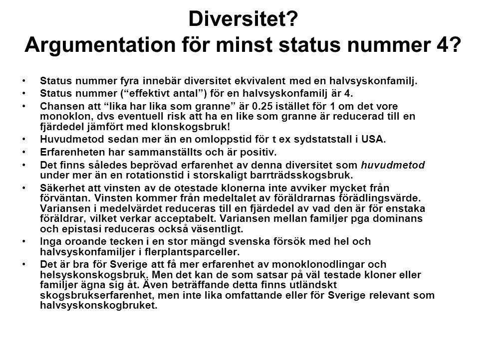 Diversitet Argumentation för minst status nummer 4