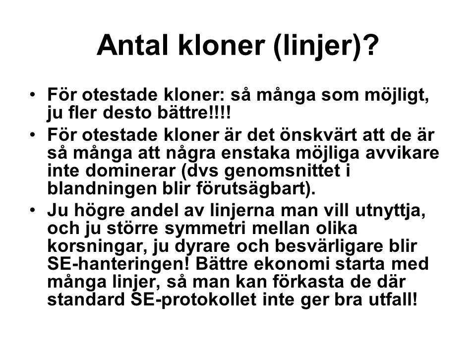 Antal kloner (linjer) För otestade kloner: så många som möjligt, ju fler desto bättre!!!!
