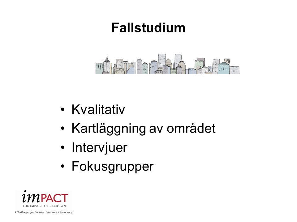 Fallstudium Kvalitativ Kartläggning av området Intervjuer Fokusgrupper