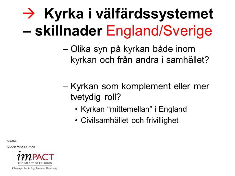 Kyrka i välfärdssystemet – skillnader England/Sverige