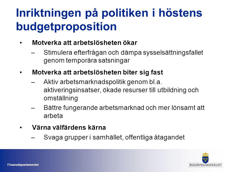 Inriktningen på politiken i höstens budgetproposition