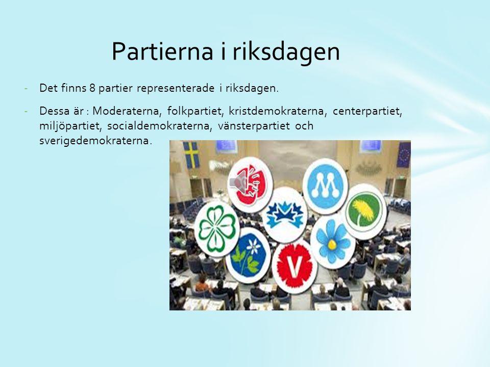 Partierna i riksdagen Det finns 8 partier representerade i riksdagen.