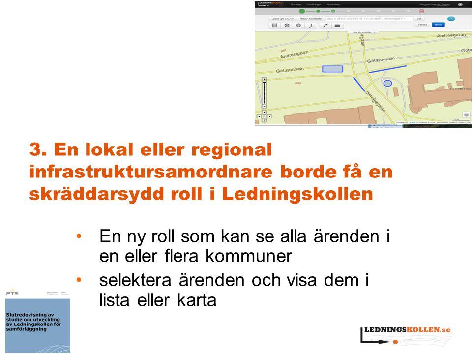 3. En lokal eller regional infrastruktursamordnare borde få en skräddarsydd roll i Ledningskollen