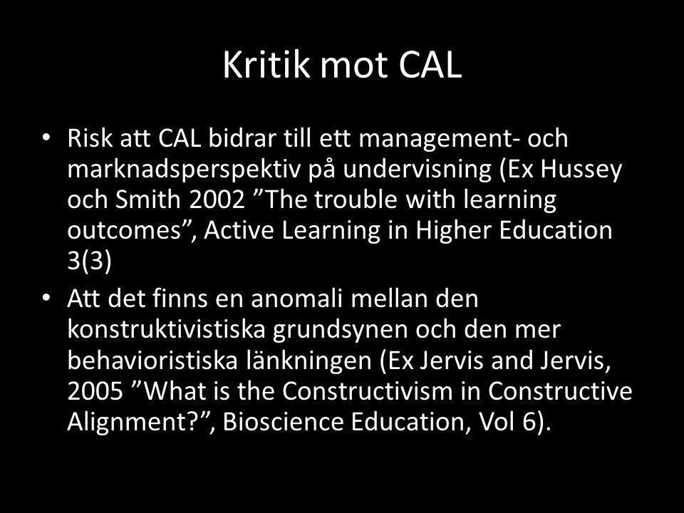 Kritik mot CAL
