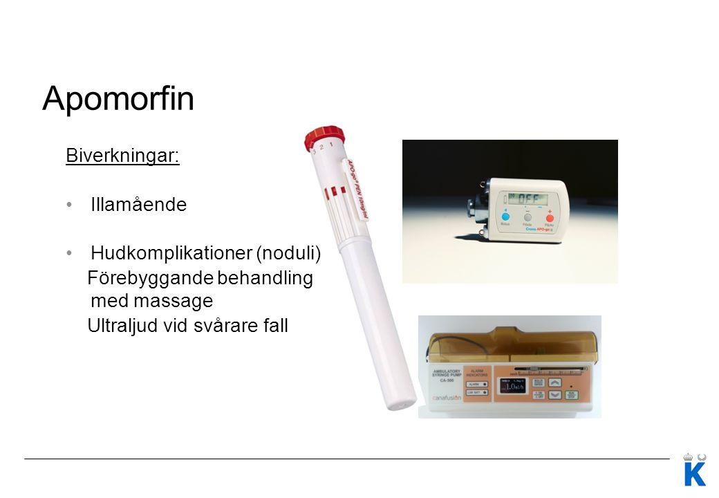 Apomorfin Biverkningar: Illamående Hudkomplikationer (noduli)