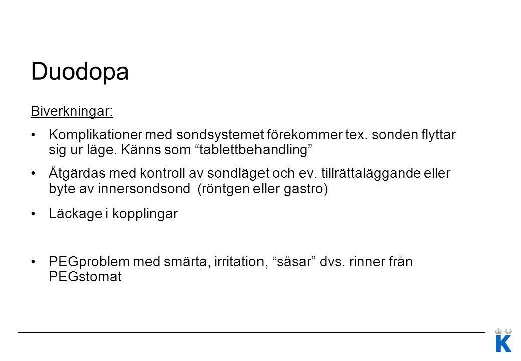 Duodopa Biverkningar:
