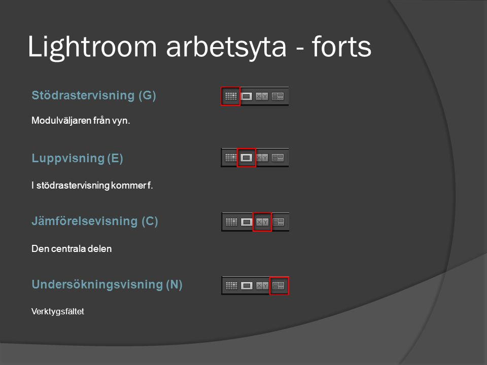 Lightroom arbetsyta - forts
