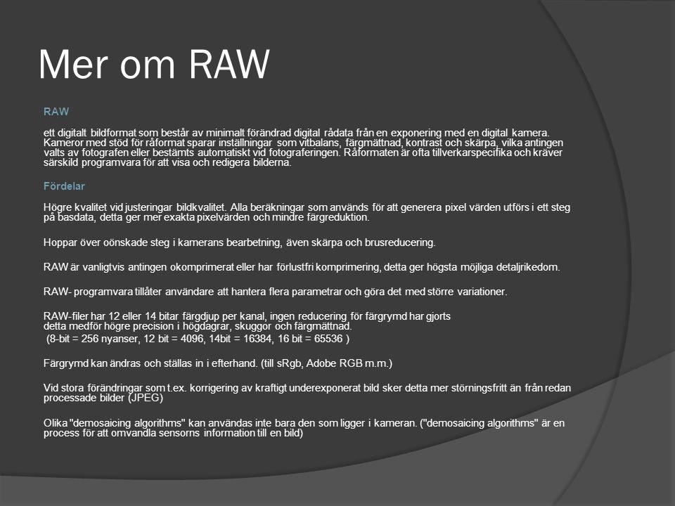 Mer om RAW RAW.