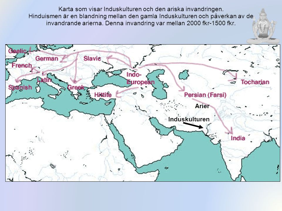 Karta som visar Induskulturen och den ariska invandringen