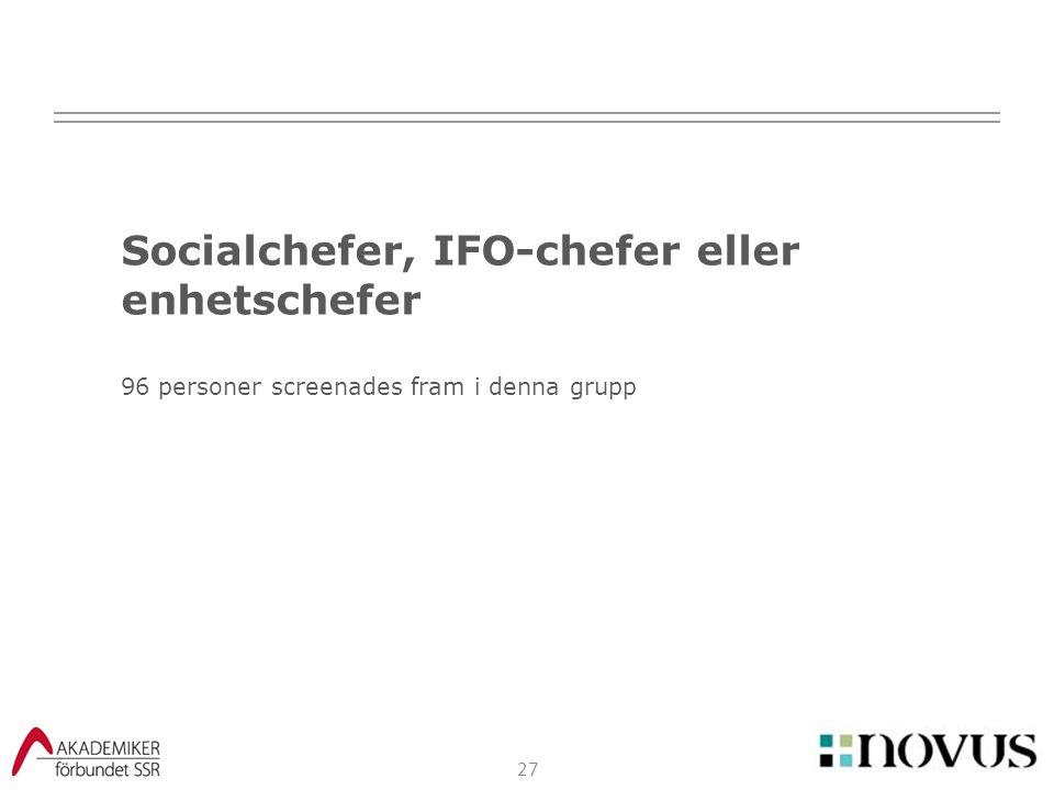 Socialchefer, IFO-chefer eller enhetschefer 96 personer screenades fram i denna grupp